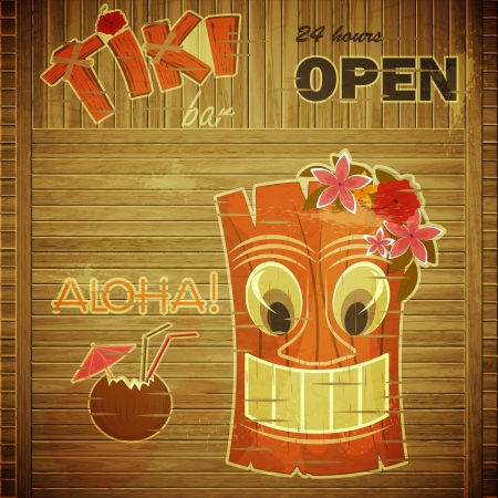 tiki party: Vintage design hawaii menu - invitation to Tiki Bar - vector illustration