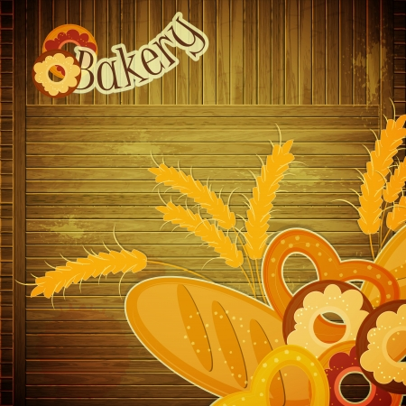bakery shop: Design Cover menu for Bakery - bread on wooden background -  Retro card with place for text - vector illustration