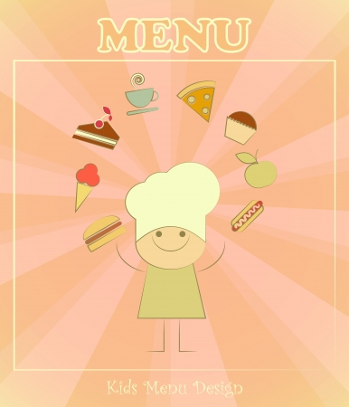 Design of kids menu with chefs and set of food in Retro Style - vector illustration Vector