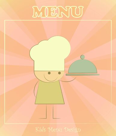 Design of kids menu with chefs and dish in Retro Style - vector illustration Vector