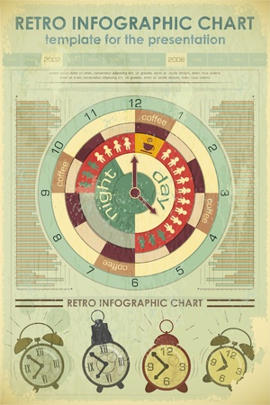 Infographics Retro elements and set of alarms - work time concept - vector illustration Vector