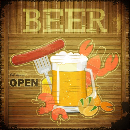 Grunge Design Beer Menu - glass of beer and snack on wooden background - Vector illustration Illustration