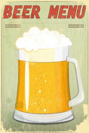 oktoberfest food: Retro Design Beer Menu - glass of beer vintage background - Vector illustration