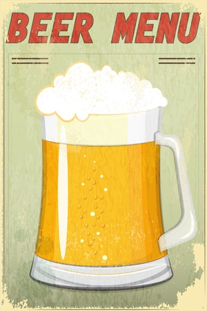 Retro Design Beer Menu - glass of beer vintage background - Vector illustration