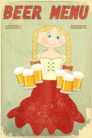 Vintage Design Beer Menu - blond girl with beer - Vector illustration Vector