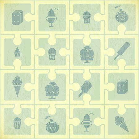 wafer: Ice Cream Pattern - Retro Background - Vector Illustration