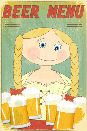 Vintage Beer Menu - blond girl with beer - Vector illustration Vector