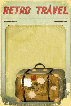Postales de viaje retro con lugar para el texto - vieja maleta en el fondo del grunge