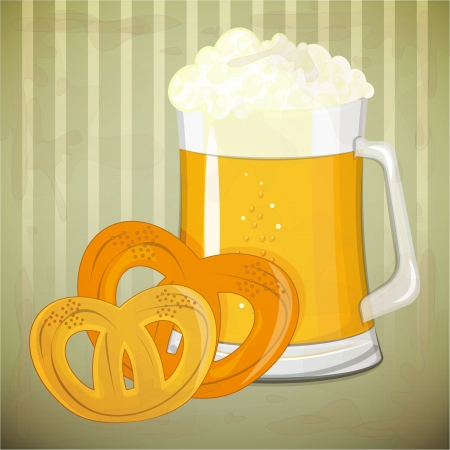 german beer: Retro Design Beer Menu - beer and  pretzels in vintage style - Vector illustration