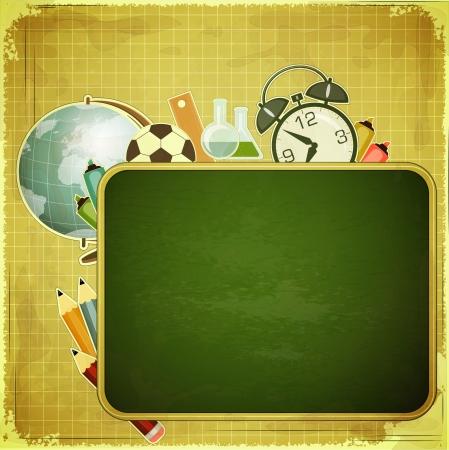 utiles escolares: Volver a la escuela de dise�o retro - de la Junta Escolar y los �tiles escolares en el fondo la vendimia - ilustraci�n vectorial
