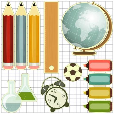 utiles escolares: Los �tiles escolares, los iconos de la educaci�n - globo, l�pices, reloj alarma - ilustraci�n vectorial