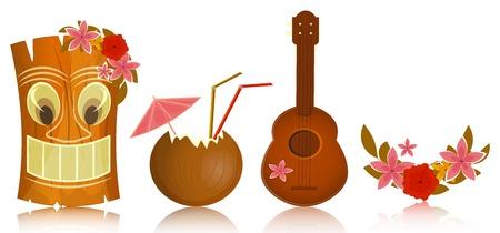 aloha: Hawaii-Ikonen - Tiki, Ukulele, Hibiskus auf wei�em Hintergrund - Vektor-Illustration Illustration