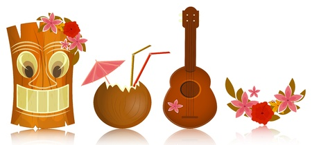 tiki party: Hawaiian icons - tiki, ukulele, hibiscus on white background - vector illustration Illustration