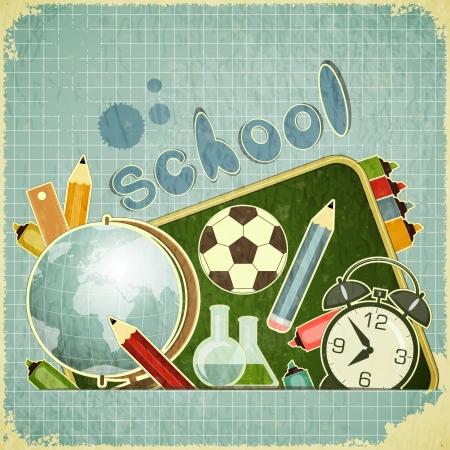 school students: Retro card -  back to school Design - School Board and School Supplies on blue vintage  background - vector illustration