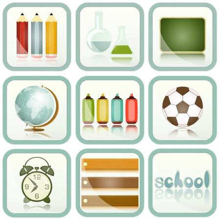 ball pens stationery: útiles escolares establecer los iconos, iconos de la educación - Globe, lápices, reloj con alarma - ilustración vectorial Vectores
