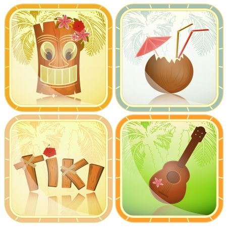 polynesisch: Set Hawaii-Ikonen - Tiki, Ukulele, Hibiskus - Vektor-Illustration