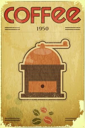Diseño retro tarjetas de café - molino de café en el fondo vintage