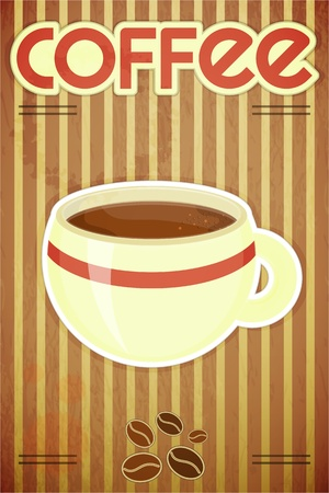 Template menu of coffee - coffee cup on striped background in retro style Stock Vector - 14557493