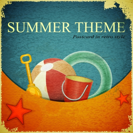 retro postcard: Beach toys on marine background -  ball, shovel, bucket,  lifeline - retro postcard Illustration