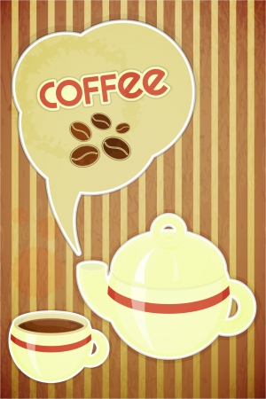 coffee stain: Template menu of coffee - coffee cup and coffee pot on striped background in retro style