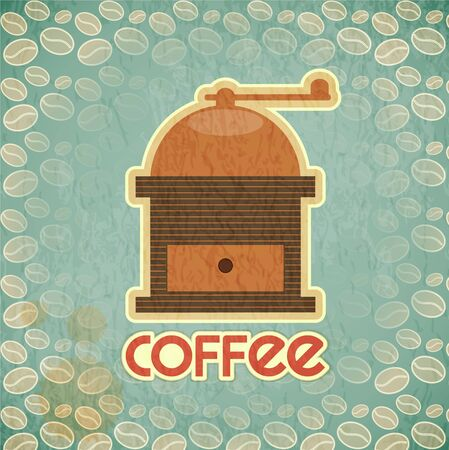 coffee mill: Retro design Coffee Card - coffee mill on vintage background with coffee beans