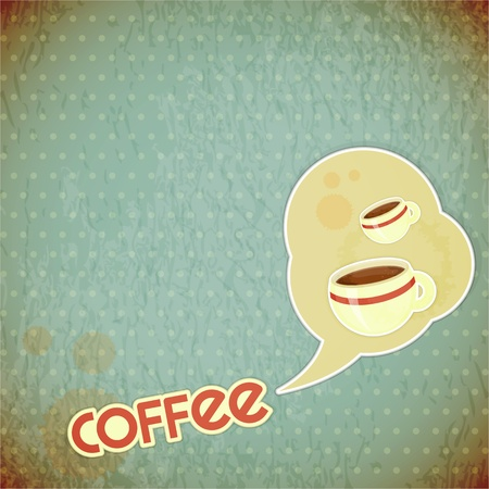 Template menu of coffee - coffee cups and lettering Coffee on Vintage background in retro style Stock Vector - 14557482