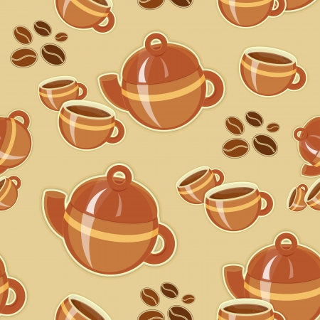 Coffee Seamless Pattern - Coffee Cup and Coffee Pot Vector