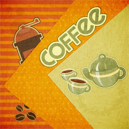 coffee mill: Template orange menu of coffee - coffee cups, coffee pot, coffee mill and coffee beans in retro style