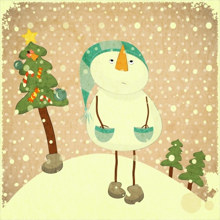 Christmas card - snowman and Christmas tree - illustration in retro style - vector