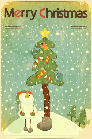 christmas card background: Christmas card - snowman and Christmas tree - postcard in retro style