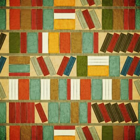 図書館: ビンテージ シームレスな本背景 - 書棚背景 - グランジ スタイル