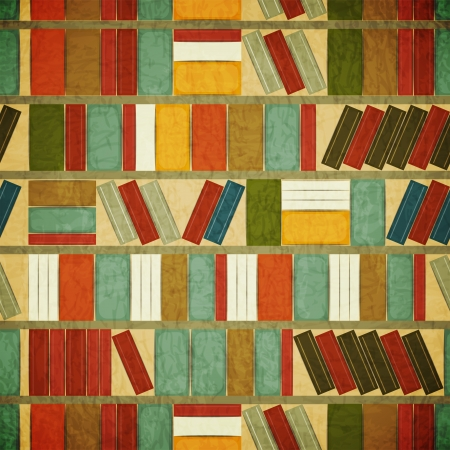 shelf with books: Vintage Seamless  Book Background - Bookcase Background - Grunge style Illustration