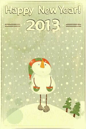 christmas card background: Christmas card - snowman and snow - postcard in retro style