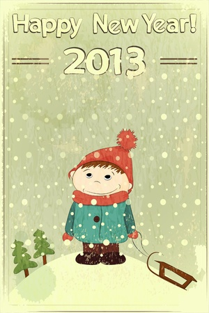 Christmas card -  little boy and sled on retro background Stock Vector - 14930909