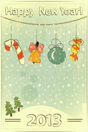 Christmas retro postcard with toys in vintage style with place for text  Vector