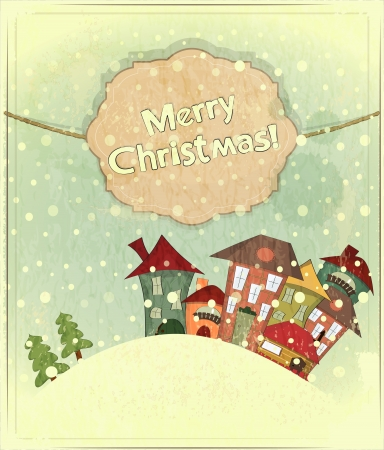 Christmas card - snow and small houses - postcard in retro style  Vector