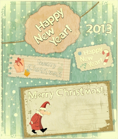 set of Christmas cards - New Year postcard in Retro style Stock Vector - 14930937