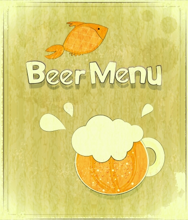 Retro Design Cover of  Beer Menu - glass of beer and fish - hand drawn text Stock Vector - 14930933