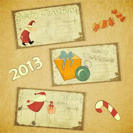 set of Retro Christmas cards - New Year postcard in Vintage style Vector