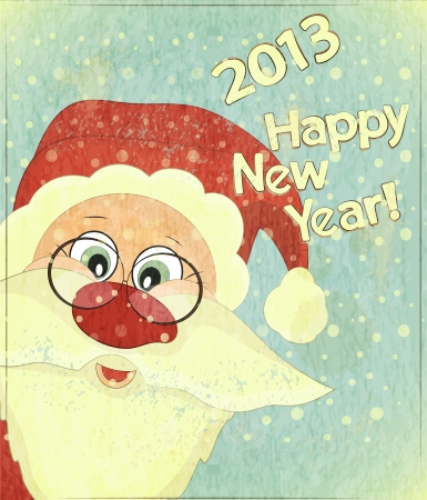 Christmas cards with Santa Claus - New Year postcard in Retro style  Vector