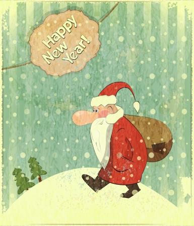 Cartes de Noël avec le Père Noël et le texte Happy New Year - carte postale Nouvel An dans le style rétro