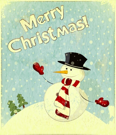 christmas postcard: Christmas card - snowman and text Merry Christmas - postcard in retro style  Illustration