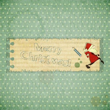 Christmas cards with Santa Claus and hand draw text Merry Christmas - New Year postcard in Retro style