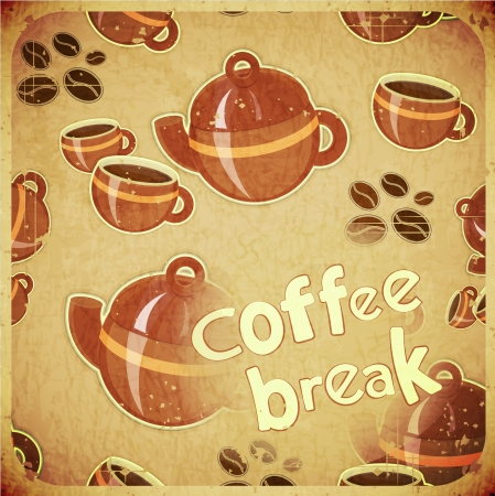 Template Menu of Coffee  - Cups and Coffee Pot on Grunge Background in Retro Style - Vector illustration Vector