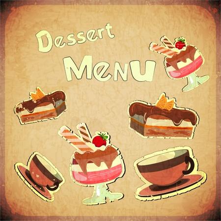 menu de postres: Cafe cubierta del vintage o carta de postres Confiter�a sobre fondo retro - ilustraci�n vectorial