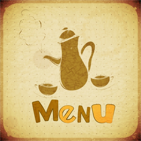 Menu - coffee tea cups and coffee tea pot Vector