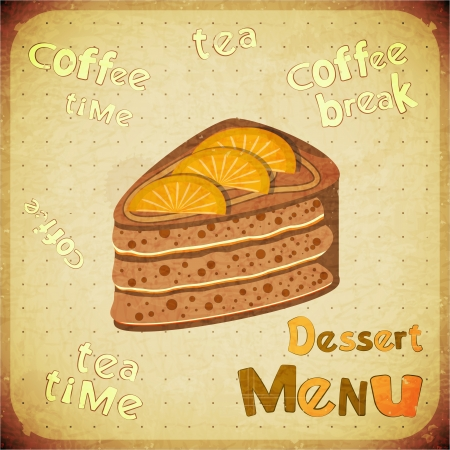 Vintage Cafe or Confectionery Dessert Menu on Retro background - vector illustration Stock Vector - 14994223