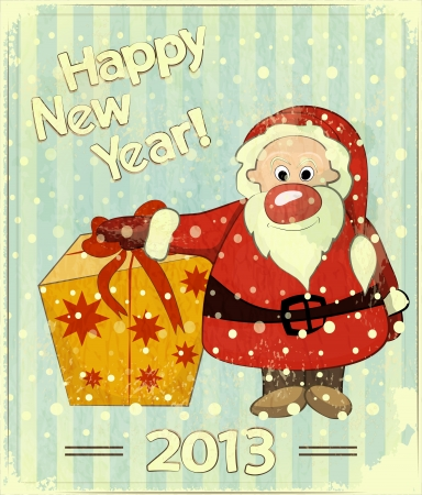 Christmas cards with Santa and gift box - New Year postcard in Retro style illustration Vector