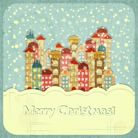 christmas house: Christmas card - snow and small town - postcard in retro style illustration