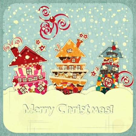 Christmas houses and snow - postcard in retro style  illustration Stock Vector - 15033707